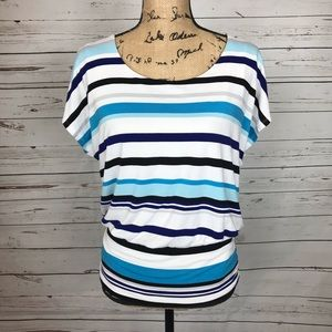 WHBM striped scoop back blouse M